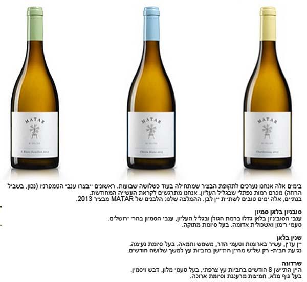 מטר - יינות לבנים חדשים